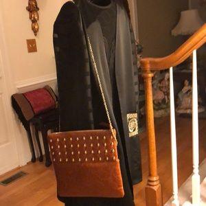 GIANNI BINI Fold Over Tan clutch/ crossbody purse